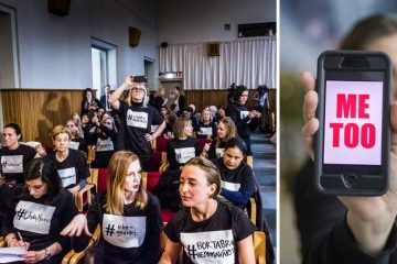 Representanter från alla #metoo-upprop sitter i publiken under ett möte med Åsa Regnér